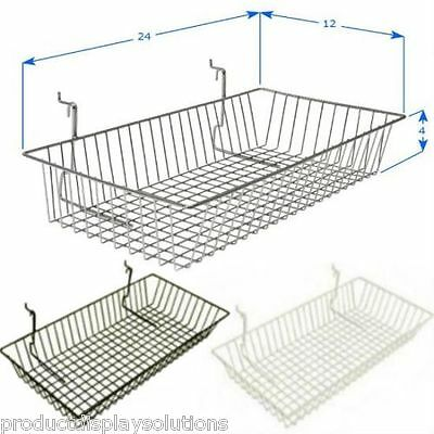 Case of 6 | Grid Gridwall Baskets 24 x 12 x 4 | BLACK WHITE or CHROME