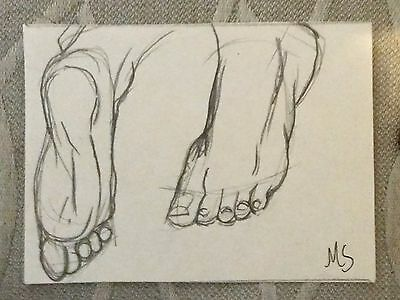 Foot Study Graphite ACEO Art MS Original Drawing