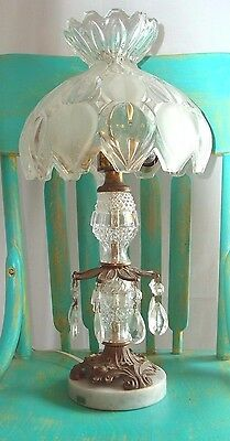 Crystal Lamp w/ Labeled Bohemia (Czechoslovakia) & Romanian Glass w/ Marble Base