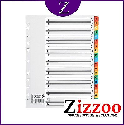 A-Z File Dividers - A4 With Coloured Alphabetical Index Tabs - Various Qty