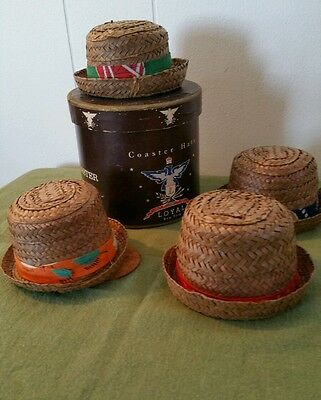 VTG. MINI.-  LOYAL OF N.Y. - COASTER HATS -ORIGINAL BOX - MADE IN in HAITI
