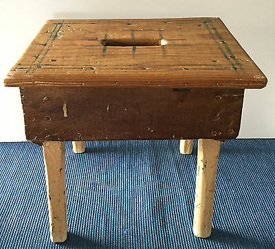 Wonderful Antique Farm Step Stool, Ontario Dutch Country - Varnished & Painted!