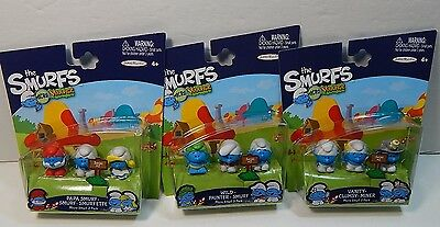The Smurfs Micro Village 3 Pack Figures Lot Of 3 Packages 9 Smurf Figures