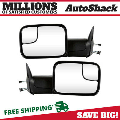 Left + Right Manual Tow Flip Up Mirror Set fits 94-02 Dodge Ram 1500 2500 3500