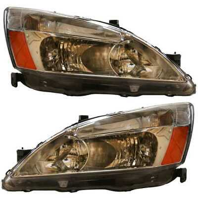 New Left Right Pair of Headlight Assemblies fits 2003-2007 Honda Accord
