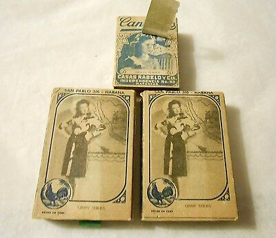 Lot Of 3 Vintage Cuban Matches 2 Full 1 Partial In Original Boxes