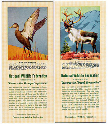 2 Ink Blotter Lot Animals Duck Caribou National Wildlife Federation Connecticut