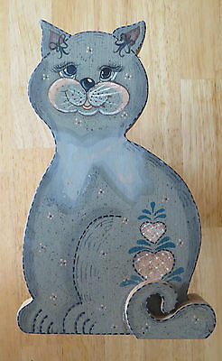Reduced! Sweetie Cat Hand-Painted Wooden Wall Plaque