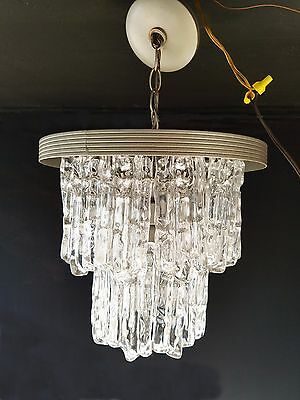 Lucite Chandelier MCM Tier Icicle Acrylic Hollywood Regency Lamp Kalmar Venini