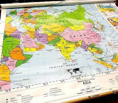 Nice Old School Wall Hanging Pull Down Classroom World Map Asia (Nystrom #1NP3)