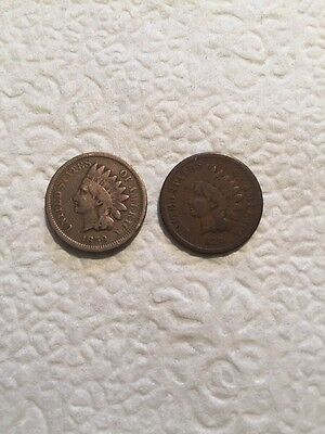Lot Of 2 1859 1879 Indian Head Penny Cent