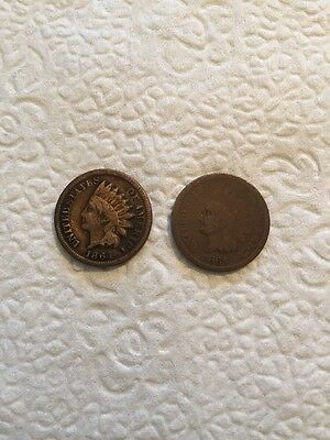 Lot Of 2 1864 1865 Indian Head Penny Cent