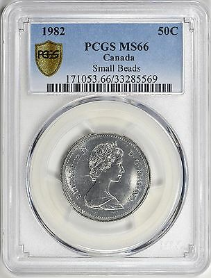 1982 Canada 50 Cents Small Beads PCGS MS-66 Top Pop