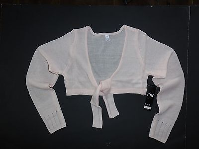 NWT Bloch C0989 Light Pink  Hazel Crop Tie Front Knit Shrug Ballet Cover-up