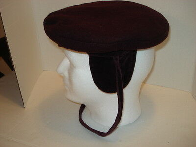 Vintage Deep Brown/Maroon Kids Hat with Ear Flaps and Tie by Rothchild