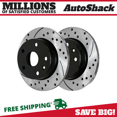Rear Pair (2) Drilled Slotted Brake Rotors 5 Stud Fits 02-17 2018 Nissan Altima