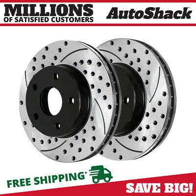 Front Pair (2) Drilled Slotted Brake Rotors 5 Stud Fits 05-13 2014 Ford Mustang