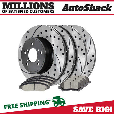 [Front and Rear Set] 4 Performance Brake Rotors and 8 Premium Ceramic Brake Pads