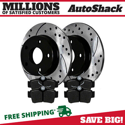 Rear Drilled Slotted Brake Rotors Ceramic Pads for 96-04 Ford Mustang Base GT