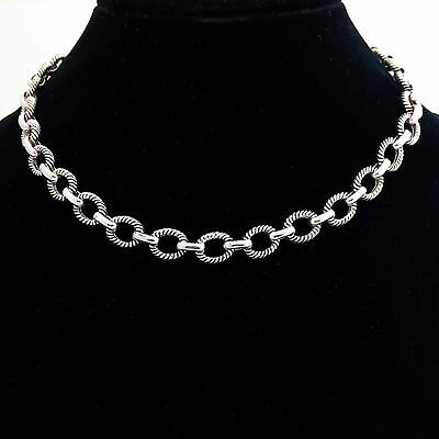 "Fancy Design Sterling Silver 925 Chain Necklace ""18"