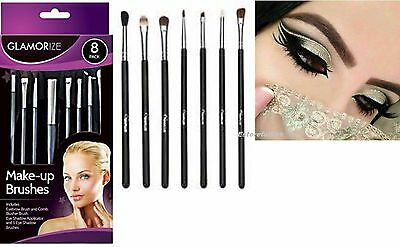NEW Glamorize 8 Pack Make-up Cosmetic Brush Set,Blusher,Eye Shadow,Eyebrow ,Comb