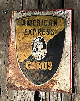 Vintage Original Metal American Express Cards Sign-Double Sided-Advertising