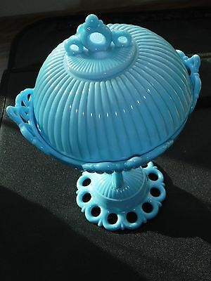 antique french blue glass ornate pedestal compote; ribbing on lid base