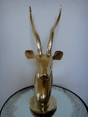 "Huge 22"" Tall Hollywood Regency Brass Gazelle Antelope Figure Statue Mid Century"
