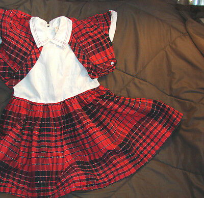 Vintage 50s Girls Childs Dress RED PLAID Cotton JACKET 6 Lil Bee