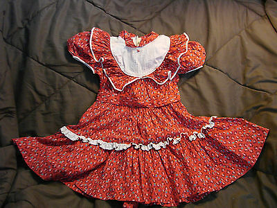 Vintage 50s Girls Childs Dress Cotton RED Calico Patio Ruffles 5-6 California