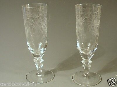 Fine Victorian Pair (2) Antique Cordial Cut Crystal Glasses etched