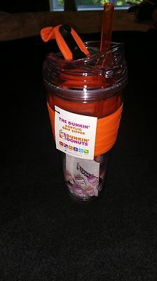 Dunkin Donuts Acrylic Grip Sipper Hot/Cold Travel Mug (ORANGE color) - RARE!