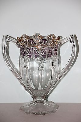 Vintage Heavy Glass 2 Handled Vase with Amethyst and Gold Accents