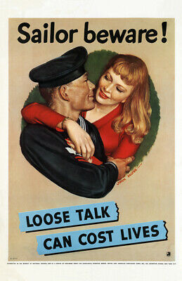 "1942 Loose Talk Can Cost Lives WWII Poster Art Print 11"" x 17"" Reprint"