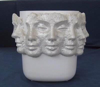 White Plastic Wastebasket with Hand Molded Paper Faces Signed by Artist