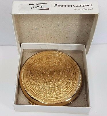 Stratton Engraved Style Gold Coloured Powder Compact Boxed 351/716 Unused