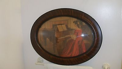 Vintage Antique Wooden Oval Picture Frame Convex Glass