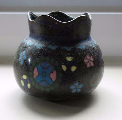 Antique Japanese Meiji Cloisonne Miniature Vase Bowl