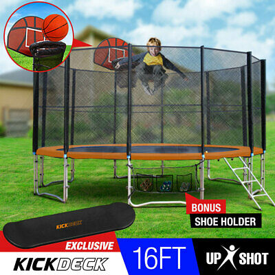 NEW 16ft Round Trampoline Basketball Set Safety Net Spring Pad Ladder KickDeck