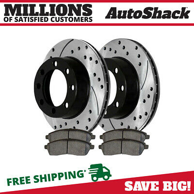Rear Drilled Slotted Brake Rotors and Ceramic Pads for 2000-2005 Ford Excursion
