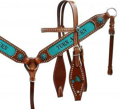 "Showman ""Turn N Burn"" headstall and breast collar set with teal inlay HORSE TACK"