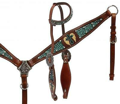 Showman Single ear headstall and breast collar set with painted cross HORSE TACK