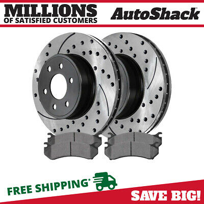Front Drilled & Slotted Rotors & 4 Ceramic Brake Pads fits Chev Gmc or Cadillac