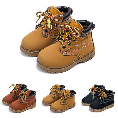 Warm Girls England Kids Casual Martin Boots Boys Tendon Toddlers PU Laces Shoes
