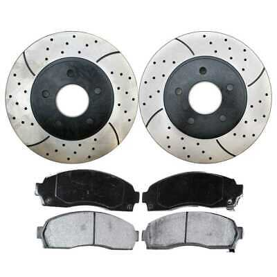 Front (2) Drilled Slotted Rotors (4) Ceramic Brake Pad Fits 2002-2007 Saturn Vue