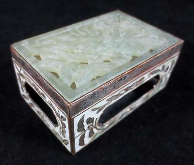 Old CHINESE COPPER MATCH BOX HOLDER with CARVED JADE & ENAMEL