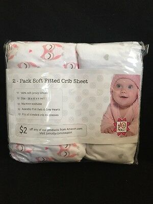 Crib Sheets - 2 Pack Fitted 100% Soft Jersey Cotton Sheet - Bedding with Pink...