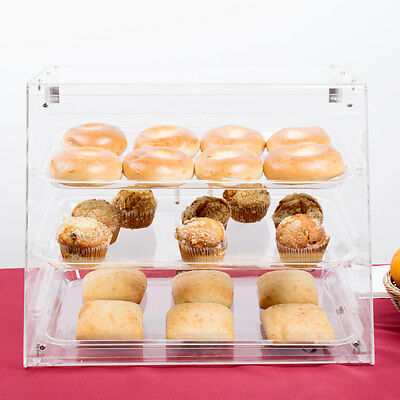 Bakery 3 Display Sliding Trays Case Pastry  W/Magnetic Rear Doors