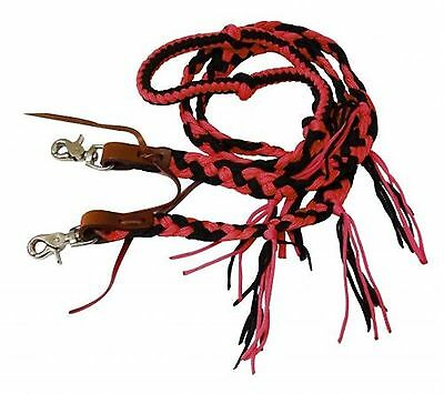 Showman 8 ft RED Braided Nylon Reins W/ Tassels and Scissor Snap Ends! TACK!