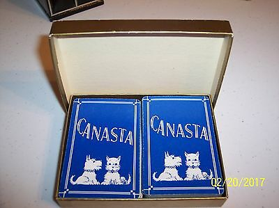 Vintage SCOTTIE DOG Scottish Terrier Scotty CANASTA PLAYING CARDS IN BOX